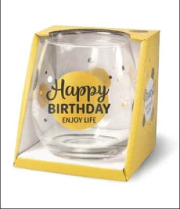 wijn water glas happy birthday